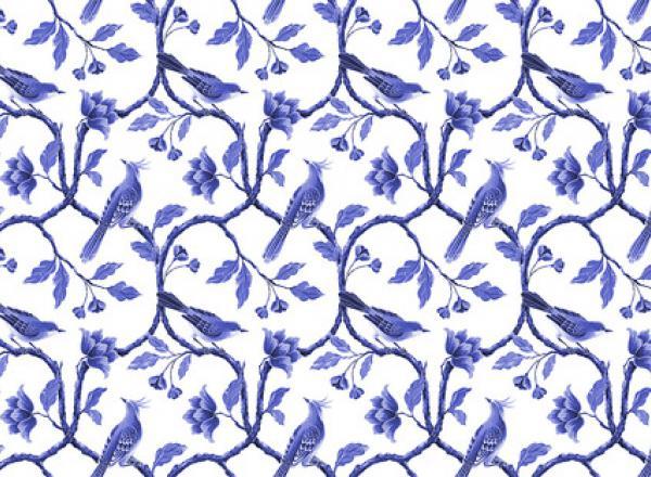 """Стеновая панель с фотопечатью """"Синие птицы"""""""