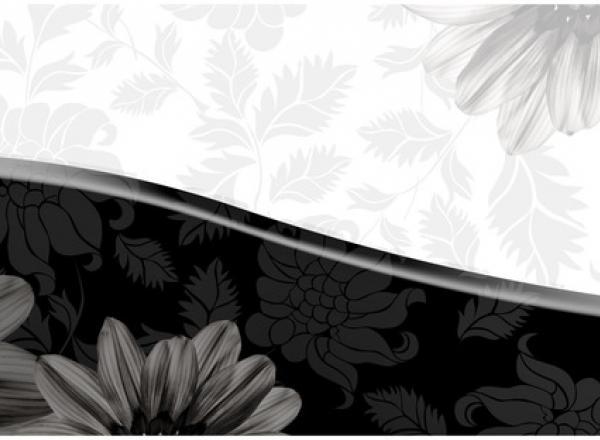"""Стеновая панель с фотопечатью """"Черно-белые цветы"""""""