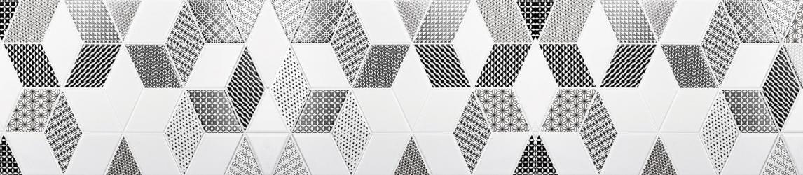 """Стеновая панель с фотопечатью """"Плитка с черно-белым орнаментом"""""""