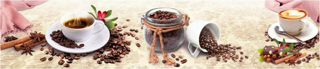 """Стеновая панель с фотопечатью """"Кофе и шоколад с орехами"""""""